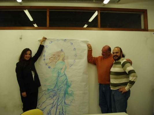 Alicia C. Braschi, Secretario de Cultura Prof. Lic. Fernando Luis Córdoba, y el delegado de Santa Clara del Mar Don Raul Leone