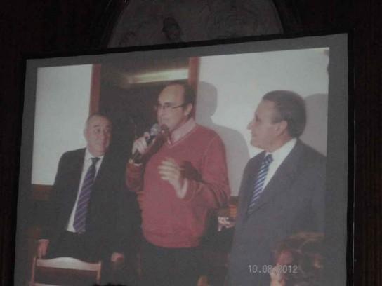 Imagen en pantalla  Don Julio Moreno Ventas, Don Julio Olmos Lablanca y Pedro Bello