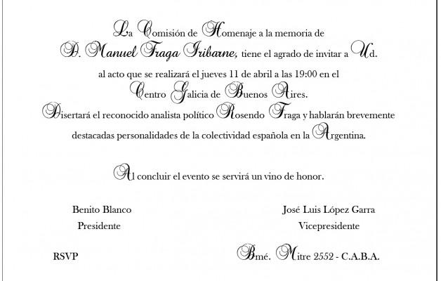 Don Manuel Fraga Iribarne será homenajeado en el Centro de Galicia de Buenos Aires