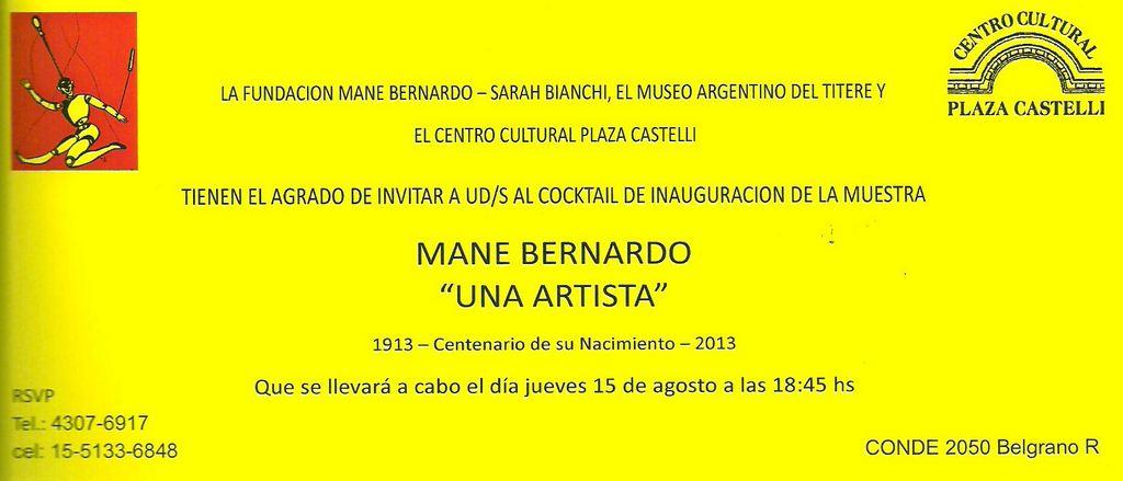 """Invitación muestra Mane Bernardo """"Una artista"""""""