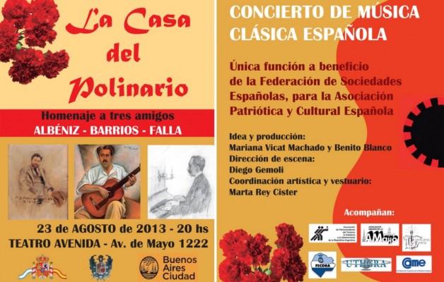 """""""La Casa del Polinario"""" rinde homenaje a músicos españoles en el Teatro Avenida"""