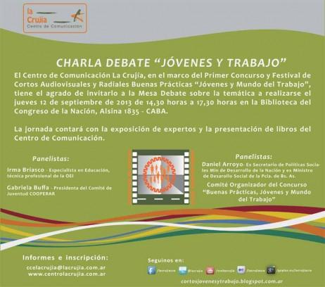 INVITACION charla debate JOVENES Y TRABAJO -12 sept