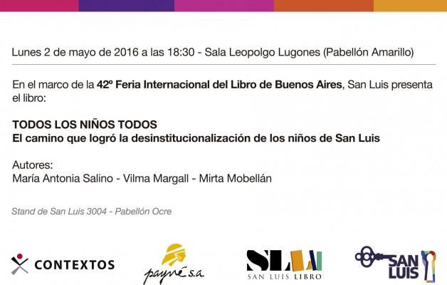 """San Luis presentará """"Todos los niños todos"""" en la Feria Internacional del Libro"""