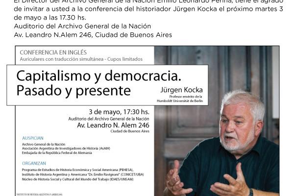 """El historiador Jürgen Kocka disertará sobre """"Capitalismo y Democracia, pasado y presente"""""""