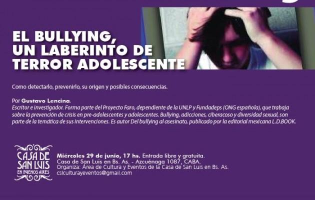 """Gustavo Lencina disertará sobre """"Por una sociedad sin Bullying"""" en la Casa de San Luis"""