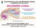 La Comisión de Cultura del Centro Galicia de Bs. As. presenta un encuentro coral