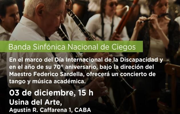 La Banda Sinfónica Nacional de Ciegos actuará en la Usina del Arte