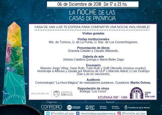 """La Casa de San Luis participará en """"La Noche de las Casas"""""""