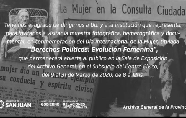 """""""Derechos políticos: evolución femenina"""", una muestra que conmemora el """"Día de la Mujer"""" en San Juan"""
