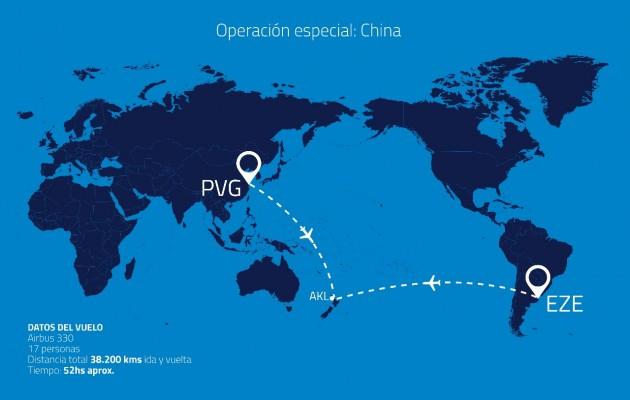Aerolíneas Argentinas inició una operación especial a China en busca de insumos sanitarios